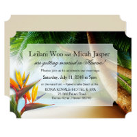 Beach Palm Tree Bird of Paradise Wedding Invitation