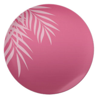Beach Palm Tree hot pink Party Plates