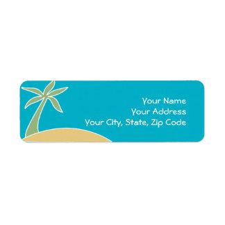 Beach Palm Tree Return Address Invitation Label