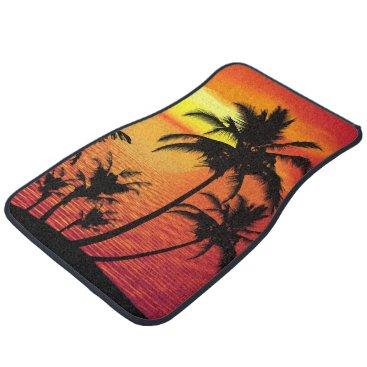 Hawaiian Themed Beach Palm Tree Scenic Design Car Mat