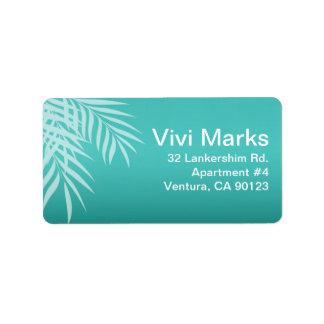 Beach Palm Tree Silhouette | aqua Address Label