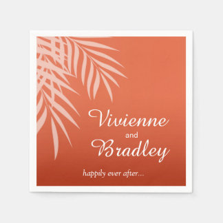 Beach Palm Tree Silhouette Cocktail | coral Paper Napkin