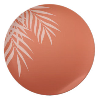 Beach Palm Tree Silhouette | coral Party Plates