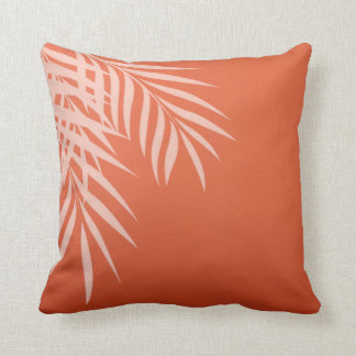 Beach Palm Tree Silhouette | coral Throw Pillow