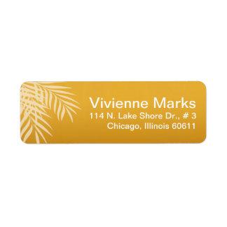 Beach Palm Tree Silhouette | gold Return Address Label