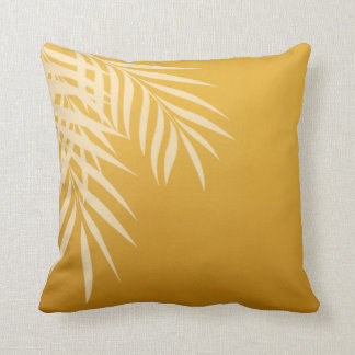 Beach Palm Tree Silhouette   gold Throw Pillow