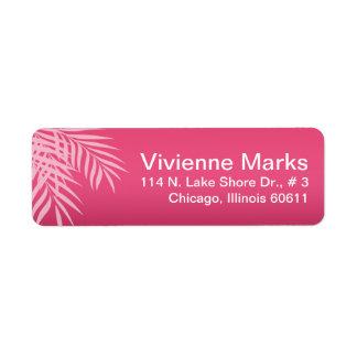 Beach Palm Tree Silhouette | hot pink Return Address Label