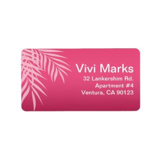 Beach Palm Tree Silhouette | hot pink Address Label