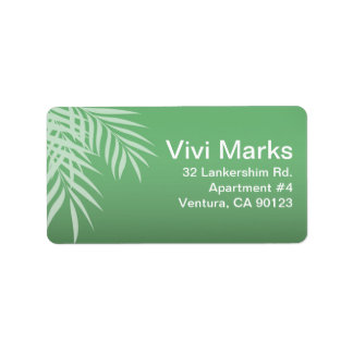 Beach Palm Tree Silhouette | jade Address Label