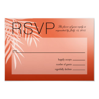 Beach Palm Tree Silhouette RSVP   coral 3.5x5 Paper Invitation Card