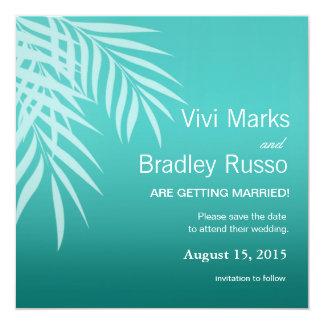 Beach Palm Tree Silhouette Save the Date | aqua 5.25x5.25 Square Paper Invitation Card