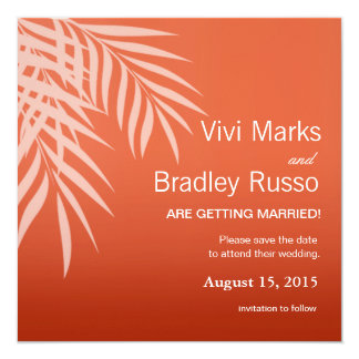 Beach Palm Tree Silhouette Save the Date | coral 5.25x5.25 Square Paper Invitation Card