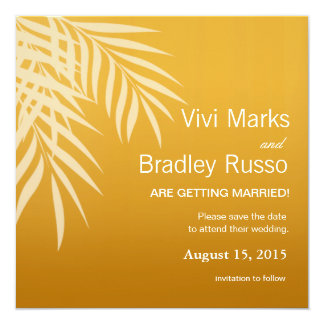 Beach Palm Tree Silhouette Save the Date | gold 5.25x5.25 Square Paper Invitation Card