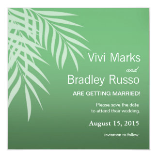 Beach Palm Tree Silhouette Save the Date | jade 5.25x5.25 Square Paper Invitation Card