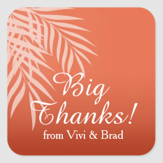 Beach Palm Tree Silhouette Thank You | coral Square Sticker