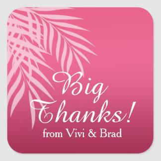 Beach Palm Tree Silhouette Thank You | hot pink Square Sticker