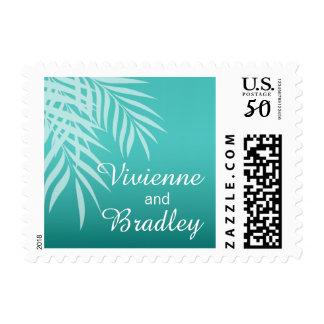 Beach Palm Tree Silhouette Wedding | aqua Postage