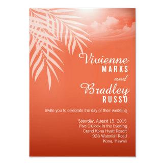 Beach Palm Tree Silhouette Wedding   coral 5x7 Paper Invitation Card