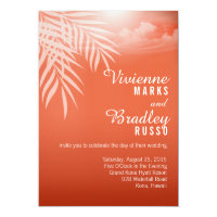Beach Palm Tree Silhouette Wedding | coral Invitation