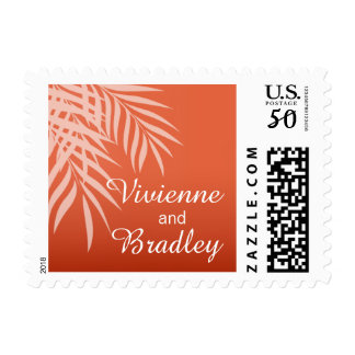 Beach Palm Tree Silhouette Wedding | coral Postage