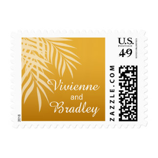 Beach Palm Tree Silhouette Wedding | gold Postage Stamp