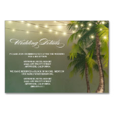 Beach Palm Tree Wedding Reception + Hotel Cards