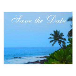 Beach Palm Tree Wedding Save the Date Postcard