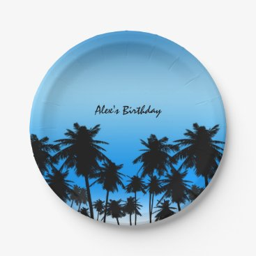 Beach Themed Beach Palm Trees Black & Blue Birthday Party Paper Plate