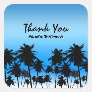 Beach Palm Trees Black & Blue Birthday Party Square Sticker