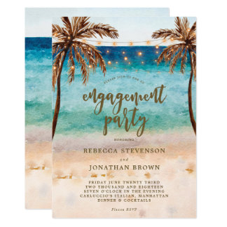 Beach, palm trees engagement party invitation