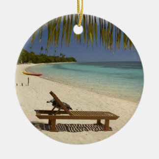 Beach, palm trees & lounger Double-Sided ceramic round christmas ornament