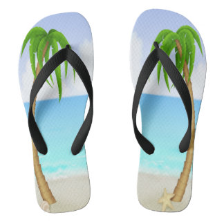 Beach Palm Trees Pair of Flip Flops