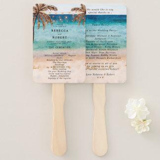 beach palm trees tropical wedding program fans