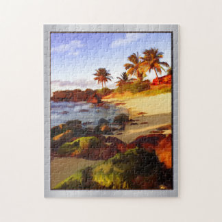 Beach, Palms and Ocean at Sunset Jigsaw Puzzle