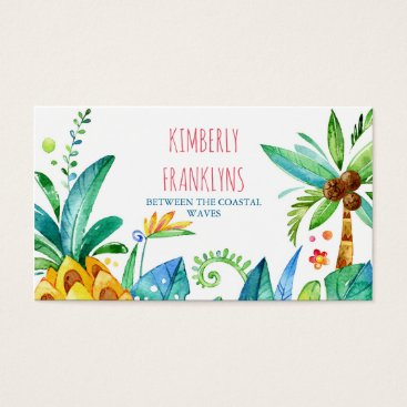 Beach Themed beach palms and pineapple business cards
