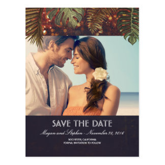 Beach Palms and String Lights Photo Save the Date Postcard