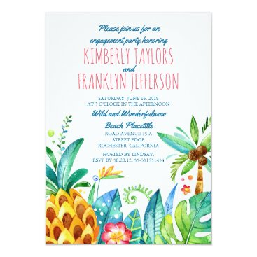 lovelywow beach palms pineapple watercolor engagement party card