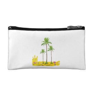 Beach palms sand castle shell cosmetics bags