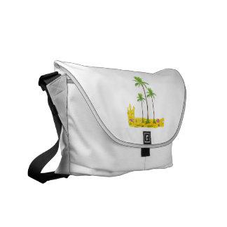 Beach palms sand castle shell messenger bag