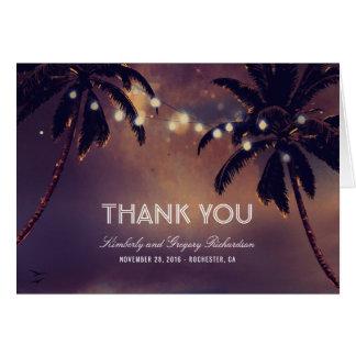 Beach Palms String Lights Wedding Thank You Card
