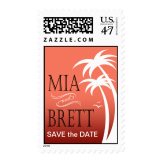 Beach Palms Tropical Save the Date | coral Postage