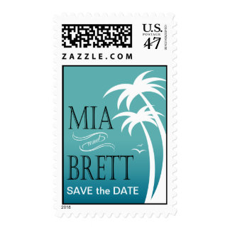 Beach Palms Tropical Save the Date | teal Postage