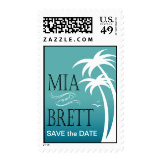 Beach Palms Tropical Save the Date | teal Postage Stamps