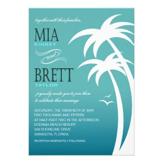 Beach Palms Tropical Wedding 5x7 | teal Custom Announcements