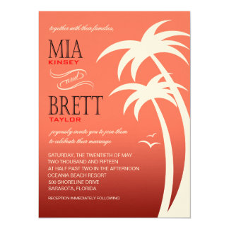 Beach Palms Tropical Wedding FELT   coral Card