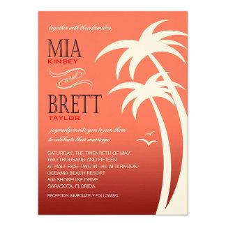 Beach Palms Tropical Wedding FELT | coral 5.5x7.5 Paper Invitation Card
