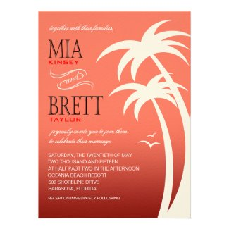 Beach Palms Tropical Wedding FELT | coral Invite