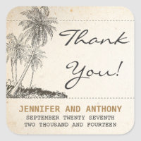 beach palms wedding thank you stickers
