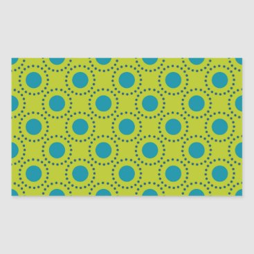 Beach Themed beach-paper-2 GREEN BLUE POLKA DOT POLKADOTS Rectangular Sticker