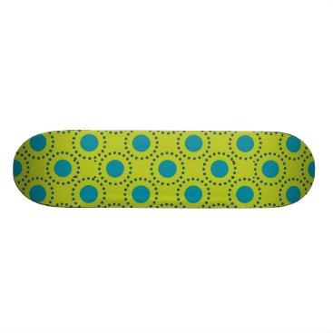 Beach Themed beach-paper-2 GREEN BLUE POLKA DOT POLKADOTS Skateboard Deck